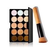 Fullkang 15 Colours Makeup Concealer Contour Palette + Makeup Brush