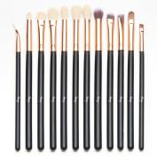 Qivange 12pcs Eye Brush Set, Cosmetics Concealer Eyeliner Blending Eyeshadow Brushes