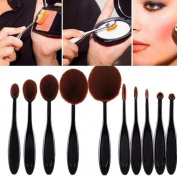 Binmer(TM)10PC/Set Toothbrush Eyebrow Foundation Eyeliner Lip Oval Brushes Foundation Brush