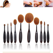 CoKate Oval Makeup Brush, 10PC Beauty Oval Cream Puff Toothbrush Makeup Brushes