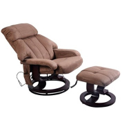 Giantex Brown Leisure Recliner Chair Ottoman with 8-Motor Massage Heated Swivel