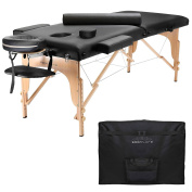 Saloniture Portable Folding Massage Table with Aluminium Headrest - Black