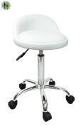 Devlon Northwest Salon Stool with Back Rest Saddle Hydraulic Spa Stool - White