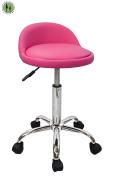 Devlon Northwest Salon Stool Saddle Stool with Back Rest, Hydraulic Spa Stool - Pink