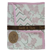 Zack & Tara Snuggle Blanket - Beautiful Blossoms & Chic Chevron in Pink & Grey