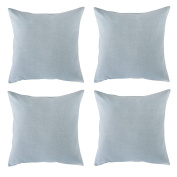 Deconovo Faux Linen Look Throw Cushion Case Pillow Cover With Invisible Zipper For Decoration 46cm x 46cm Ballad Blue Set of 4