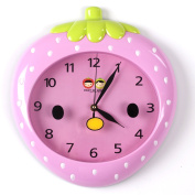 Wall Clocks For Kids (Pink Strawberry) - Fun Colourful Design For Boy & Girls Room. Silent Non-Ticking Hand. Best For Bedroom Nursery Playroom & Classroom Decor. Great For Teaching A Child To Read Time