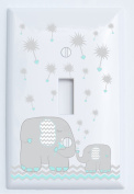 Grey and Seafoam Green Dandelion Elephant Light Switch Plates Covers / Elephant Nursery Decor