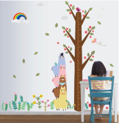 3D Self-adhesive Removable Cute Cartoon/Birds Play Football Vinyl Wall Sticker/Mural Art Decals Decorator for Kids Nursery Room (MJ201 Large Alpaca Height of stickers