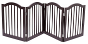 Internet's Best Pet Gate with Arched Top   4 Panel   60cm Step Over Fence   Free Standing Folding Z Shape Indoor Doorway Hall Stairs Dog Puppy Gate   Espresso   Wooden