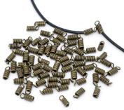 BoNaYuanDa 150pcs Antiqued Brass Bronze Crimp Fasteners Leather Cord Ends Caps Necklace Clasp Jewellery Parts 10x5mm