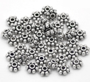Honbay 200pcs Antique Silver Daisy Spacer Metal Beads 4mm for Jewellery Making