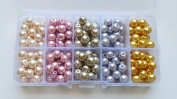 200+pcs 8mm Lustre Glass Pearl Round Beads with Case / Jewellery Making Beads