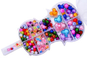 Giftale Various Beautiful Jewellery Beads Educational Toy with Guitar Shaped Box DIY Jewellery for Children Necklace and Bracelet Crafts Making - Crystal Beads
