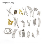 ZX Jewellery (400pcs) Mix Curved Metal Tube Beads Smooth Spacer Engraved Metal Beadf Jewellery Findings