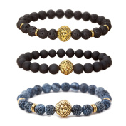 MIKINI Jewellery Lava Rock Matte Agate Natural Onyx Stone Mens Bracelets, Alloy Lion Head, Pack of 3