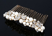 Butterfly motif Hair Comb pearl and rhinestone hairpin