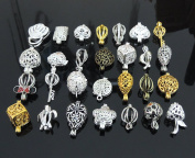 20pcs Mix Style Jewellery Making Supplies Silver Plated Bead Cage Pendant - Add Your Own Pearls, Stones, Rock to Cage,Add Perfume and Essential Oils to Create a Scent Diffusing Pendant Charms