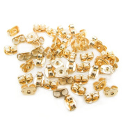 100Pcs Butterfly Clutches Earring Backs Ear Nuts,Gold-tone