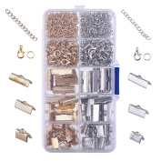 Outus Ribbon Bracelet Kit Bookmark Pinch Crimp Ends Lobster Clasps with Jump Rings and Chain Extenders, 370 Pieces