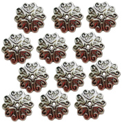 Heather's cf 140Pieces Silver Tone Pattern Beads Caps Findings (Fit 16mm Round Beads)Jewellery Making 12mm