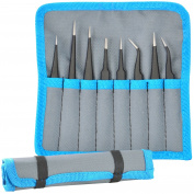 8pcs ESD Safe Anti-Static Stainless Steel Tweezers Set Maintenance Tool Kit
