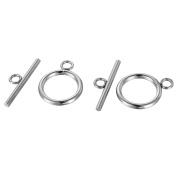 VALYRIA 5 Sets Stainless Steel Silver Toggle Clasps Connectors Jewellery Finding 21mmx16mm 24mmx7mm
