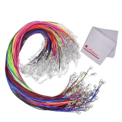 Antner 100 Multi-coloured Leather Braided Wax Cord Necklace with Lobster Clasps, 1.5mm/19inches