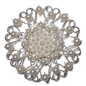 Jumbo Round Ornate Pearl-studded Brooch in Silver