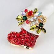 Miss.AJ Gold-Toned Festive Christmas Stockings, Diamond Brooch Pin with gift box