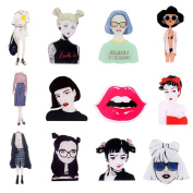ONINIT Cute Lady Acrylic Brooches Set Pin Badge for Clothes/Bags/Backpack