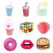 ONINIT Acrylic Brooches Set Drink and Food Pin Badge for Clothes/Bags/Backpack