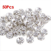 Gleader50pcs Round Rhinestone Beads Rondelle Necklace Spacer HOT