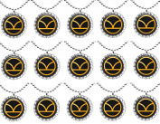 15 KINGSMAN GOLD LOGO Flat Bottle Cap Necklaces for Birthday, Party Favours, Bag Fillers.