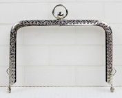 Silver Colour Embossed Purse Frame - Rectangle Bead - 11cm / 4.3inch
