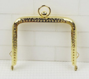 Golden Embossed Purse Frame - Rectangle Bead - 8.5cm / 3.3 inch
