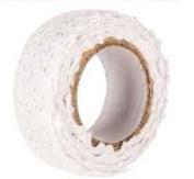Fabric Lace Tape - White, Self Adhesive Washi