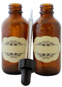 2 OZ (60 ML) AMBER GLASS BOTTLES DROPPER ALL-purpose great for light-sensitive liquids, essential oils. Use in bath, kitchen, laboratory BONUS - designed decorative stickers included. 10-PACK