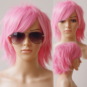 Unisex Women Short Curly Straight Cosplay Wig Anime Hair Tail Full Wigs Heat Resistant Synthetic Wig Wigs Japanese Kanekalon Fibre 20 Colours Full Wig for Women Lady Fashion and Beauty