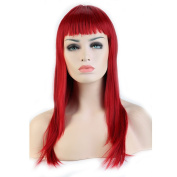 """Heat Resistant Synthetic Wig Japanese Kanekalon Fibre 7 Colours Full Wig with Bangs Long Straight 23"""" / 58cm Wig for Women Girls Lady Fashion and Beauty"""