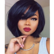 Glueless Short Bob Lace Front Human Hair Wigs For Black Women Brazilian Virgin Hair Straight Lace Front Human Hair Wigs Bob Short Wig 25cm