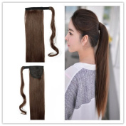 Remeehi 41cm - 80cm 100% Human Hair Straight Wrap Around Ponytail Extension for Woman 120g