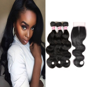 Fabeauty Hair 7A Brazilian 3 Bundles Body Wave with Closure(44) 100% unprocessed virgin hair Silky Weave Human Hair Extensions 3 Bundles with Middle Closure(44)