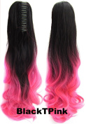 Beauty Wig World 21inch 55cm 100g Two Tone Long Wave Curly Woman Claw Clip Ponytail Clip on/in Hair Extensions -#Black to Pink