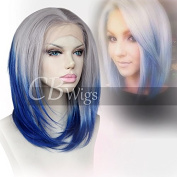 Cbwigs New Hairstyle Sexy Silk Straight Synthetic Lace Front Wig Heat Resistant Lace Front Wig Omber Colour 25cm 0906/Blue#