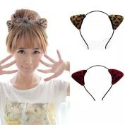IebeautySexy Cute Lovely Rabbit Cat Ears Headband Hair Holder hairband with velvet Leopard Orecchiette Ear