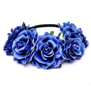Etino Stretch Fit Headband Head Rose Crown Flower Crown Head Piece for Wedding Party Prom