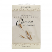 Sunaroma Oatmeal Soap with Vitamin E (130ml) -100% Vegetable Based Soap Cleanses, Moisturises and Rejuvenates Skin - Great for Sensitive or Eczema Prone Skin - Made in the USA, Sulphate Free