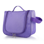 Uarter Toiletry Bag Compact Hanging Makeup Shower Storage Case Portable Travel Organiser with Mesh Pockets Purple