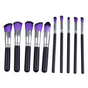 Maquita 10Pcs Premium Synthetic Kabuki Makeup Brush Set Cosmetics Foundation Blending Blush Eyeliner Face Powder Brush Makeup Brush Kit